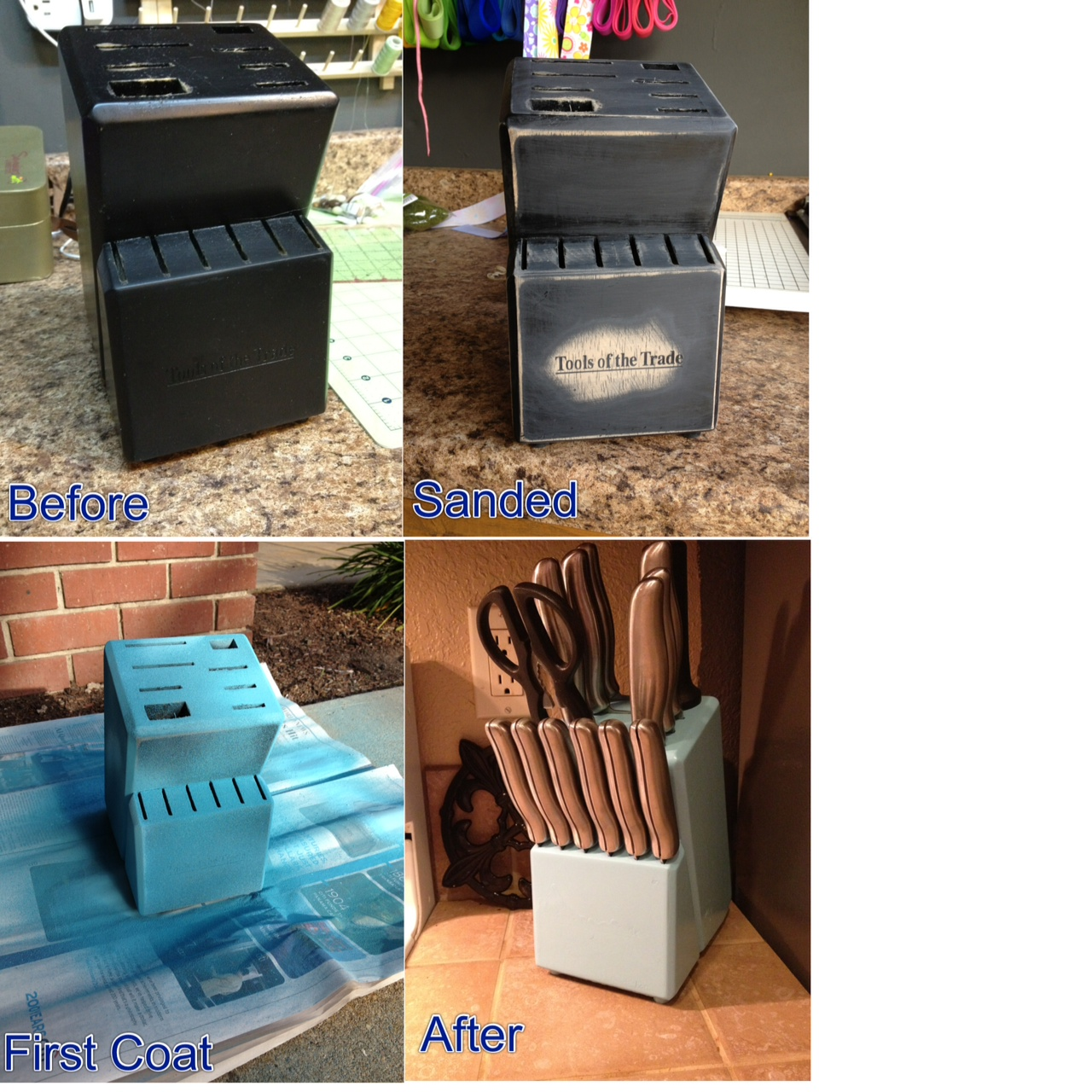 refurbished knife block project diy kitchen decor