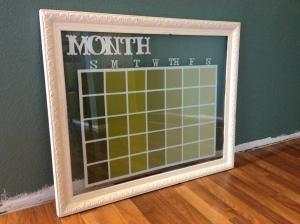 Glass dry erase calendar frame