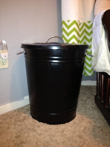 black metal trash can hamper